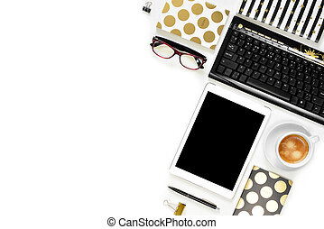Flat lay photo of office white desk with tablet, keyboard and gold notebook copy space background