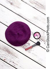 Flat lay purple hat, top view.
