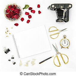 Flat lay red roses flowers vintage camera golden accessories