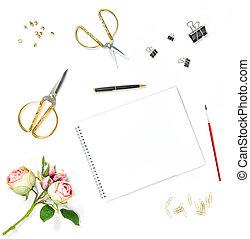 Flat lay sketchbook watercolor brush office tools rose flowers