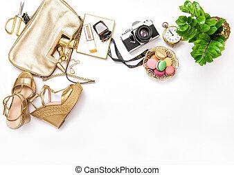 Flat lay social media fashion bloggers. Bag shoes vintage photo camera