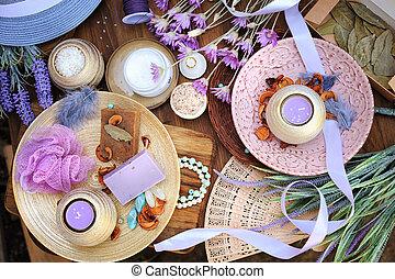 Flat lay spa accessories, handmade artisan soap, fresh...