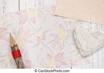 Flat lay stock photography flower pattern message letter paper wood pencil heart craft