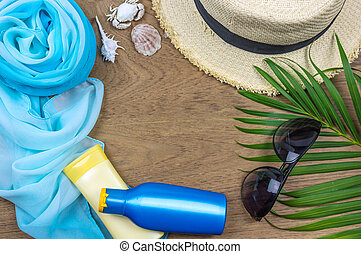 Flat lay summer background.