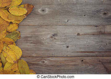 Flat lay view of autumn leaves on wooden background