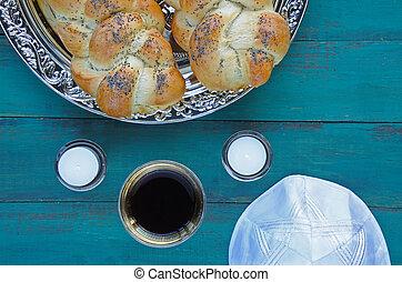 Flat lay view of Jewish Shabbat eve table