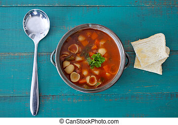 Flat lay view of Minestrone Soup