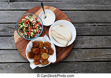 Flat lay view of traditional Israeli food