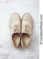 Flat lay women's fashion shoes casual design on white background isolated