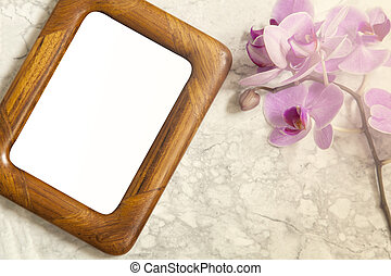 Flat lay wooden frame - Image of a flat lay mockup concept...