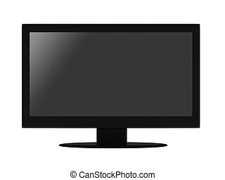 Flat LCD TV - Black flat LCD TV isolated on white...