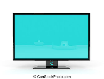 Flat Lcd Tv - Flat Lcd tv/monitor on white background with...