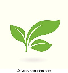 Flat leaves icons. Abstract green leaf logo.