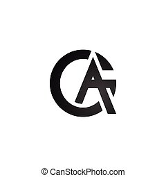 Flat letter A and G in black color vector