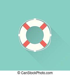 flat lifebuoy icon on blue background