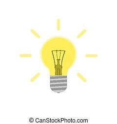 Flat light bulb illustration. Glowing lightbulb icon isolated on background