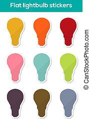 Flat lightbulb stickers