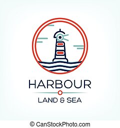 Flat lighthouse icon on blue sea, illustration vector background
