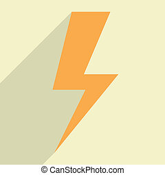 Flat Lightning Bolt - minimalistic illustration of a...