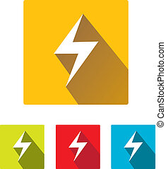 flat lightning bolt vector icon set on square - flat style...