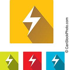 flat lightning bolt vector icon set on square