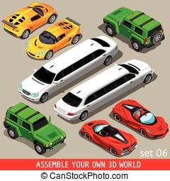 Flat Limousine Vehicle Isometric - City Transport NEW bright...