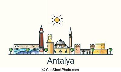 Flat line Antalya banner - Banner of Antalya city in flat...