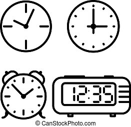 Flat line art clock icons set