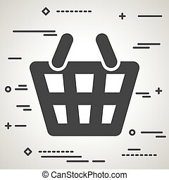 Flat Line art design graphic image concept of a basket icon on a