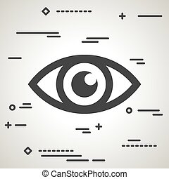 Flat Line art design graphic image concept of a eye icon on a gr