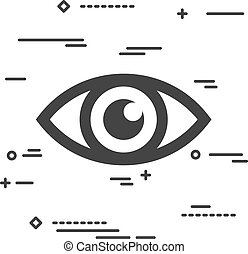 Flat Line art design graphic image concept of a eye icon on a wh