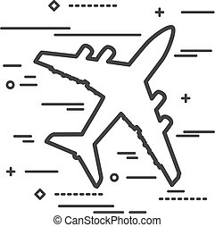 Flat Line art design graphic image concept of airplane icon a wh