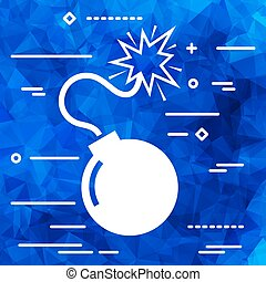 Flat Line art design graphic image concept of  bomb icon on a bl
