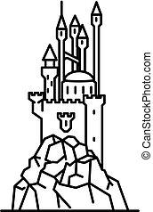 Flat line art magic castle on a cliff illustration