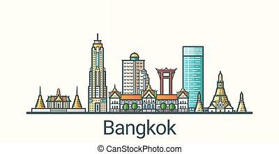 Flat line Bangkok banner - Banner of Bangkok city in flat...