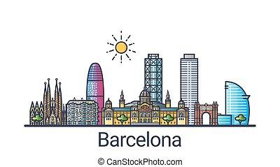Flat line Barcelona banner - Banner of Barcelona city...