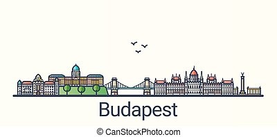 Banner of Budapest city in flat line trendy style. Budapest city line art. All buildings separated and customizable.