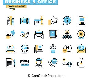 Flat line business icons