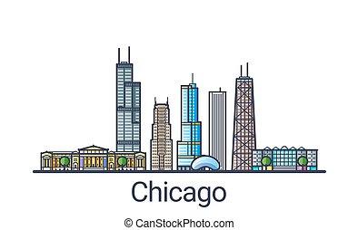 Flat line Chicago banner - Banner of Chicago city skyline in...