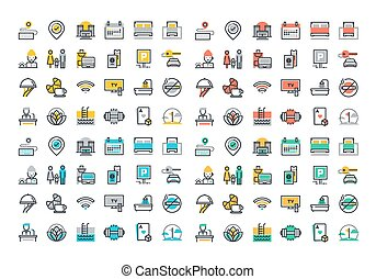 Flat line colorful icons collection - Flat line icons set of...