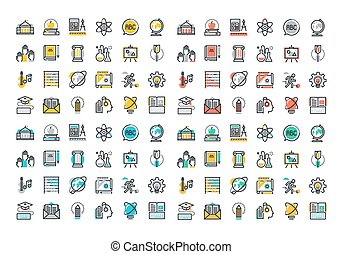 Flat line colorful icons collection of education and...