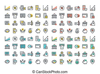 Flat line colorful icons collection of online payment,...