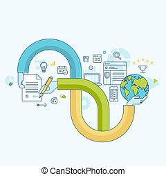Flat line concept for business