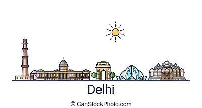 Flat line Delhi banner - Banner of Delhi city skyline in...