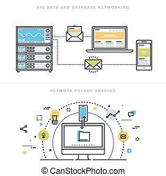 Flat line design vector illustration concepts for big data and data base networking, network folder sharing, database analysis, database server, computer network technology, for website banner.