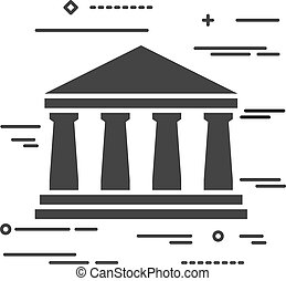 Flat Line design graphic image concept of bank icon on a white b