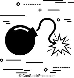 Flat Line design graphic image concept of bomb icon on a white b