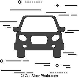 Flat Line design graphic image concept of car icon on a white ba