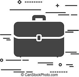 Flat Line design graphic image concept of case icon on a white b