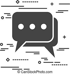 Flat Line design graphic image concept of chat icon on a white b